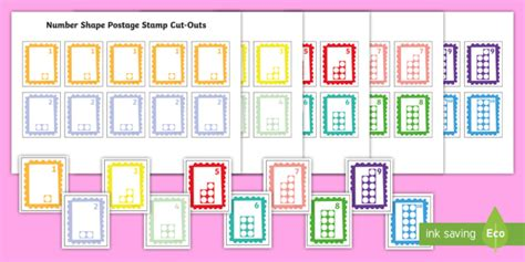 * New * Number Shape Postage Stamp Cutouts  Eyfs Numicon