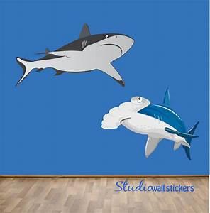 reusable shark wall decals huge With shark wall decals