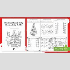 * New * Phase 3 Christmas Phonics Tricky Words Activity Booklet