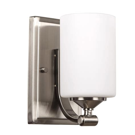 dsi 1 light brushed nickel wall sconce with frosted opal