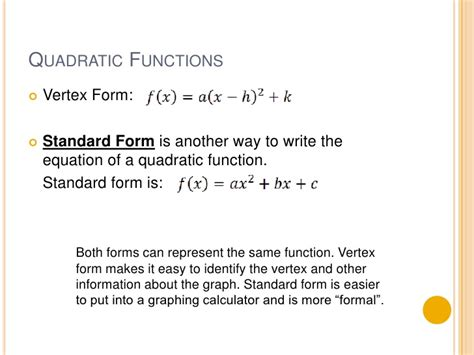 4 2 standard form of a quadratic function part 1