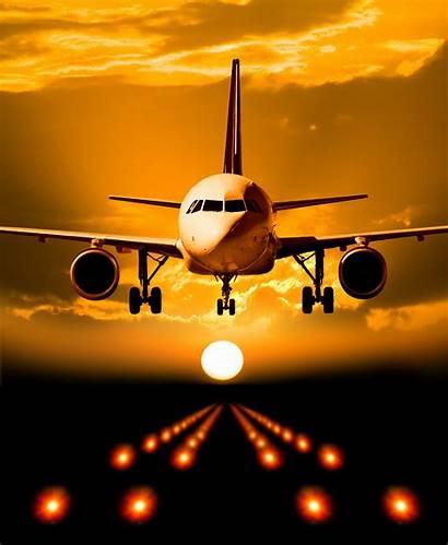 Airplane Travel Landing Flight Orange Landings Flying
