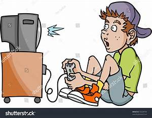 Boy Addicted Playing Video Games Stock Vector 59228794 ...