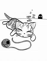Kedi Coloring Yarn Boyama Ball Resmi Kolay Sablonlari Template Popular sketch template