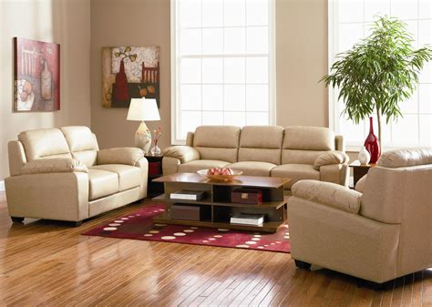 casual contemporary leather living room set