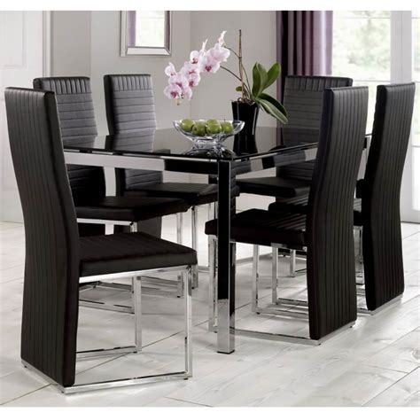 tempo black dining table  black chairs fads