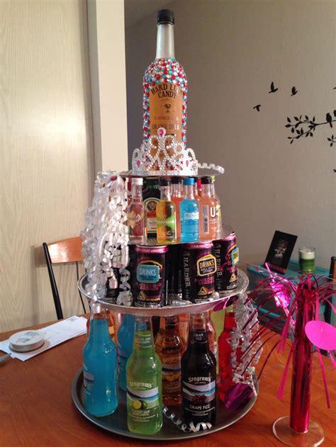 st birthday present alcohol tower cake