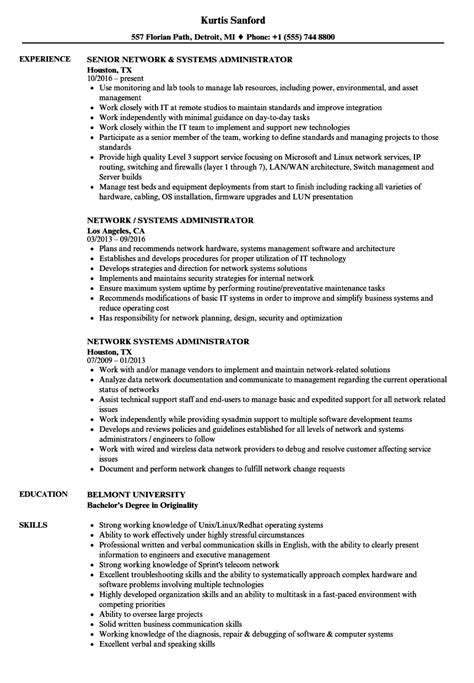 Systems Administrator Resume by Network Systems Administrator Resume Sles Velvet