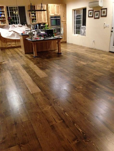 pine plank floors  hand rubbed dark stain