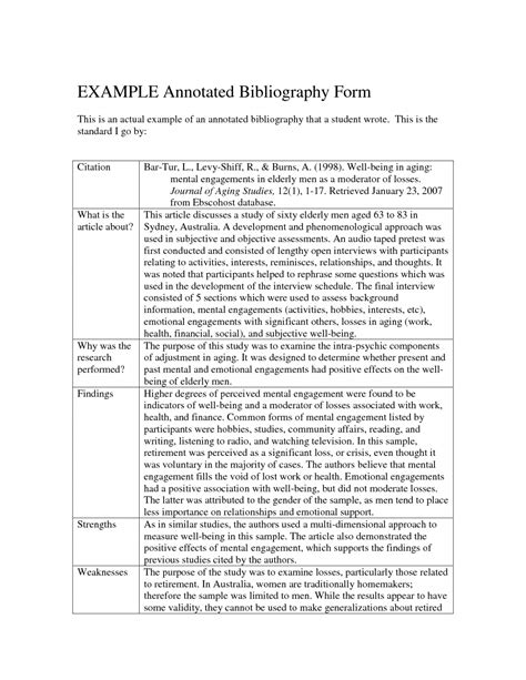 Annotated Bibliography Template Apa Format Annotated Bibliography Exle Template