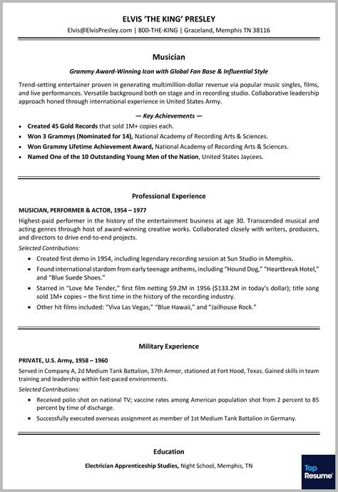Career Achievements In Resume by Resume Makeover For Elvis The King Of Rock N