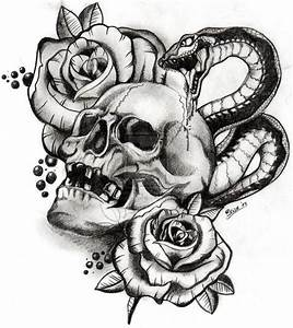 Evil skull Drawings with gun | skull and snake by boise by ...