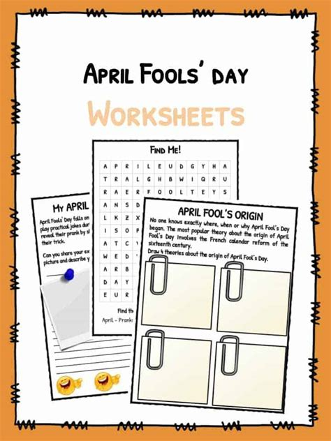 april fools day facts worksheets  kids