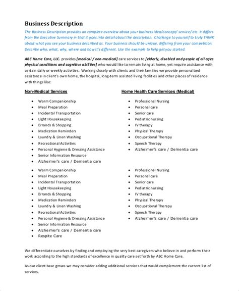 non home care business plan template 10 business plan sles sle templates