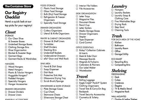 wedding registry checklist   container store