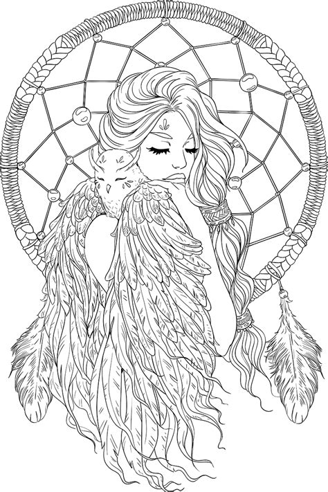free printable coloring sheets for adults lineartsy free coloring page dreamcatcher lined