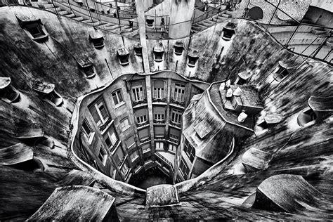 wallpaper building monochrome barcelona architecture