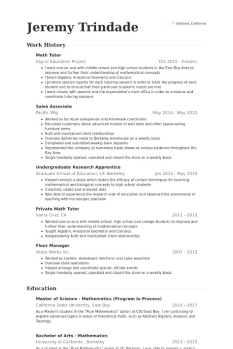 math tutor resume sles visualcv resume sles database