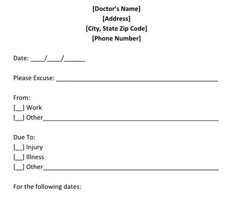 doctors excuse for work template 25 free doctor note excuse templates template lab