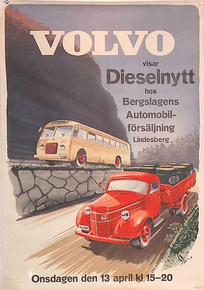 original vintage poster volvo visar dieselnytt  sale