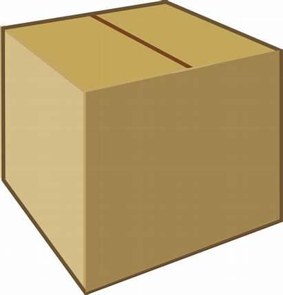 Box Clip Cardboard Clipart Closed Brown Vector