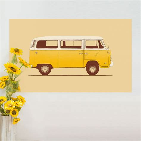 cervan decor vw wall stickers yellow volkswagen bus wall sticker decal vw combi t2 by