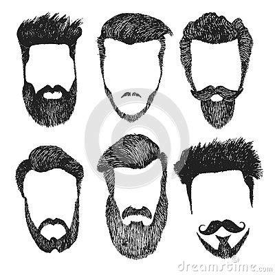 vector set  hipster style haircut beard mustache stock