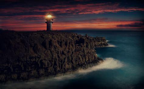wallpaper lighthouse sunset dusk hd  nature
