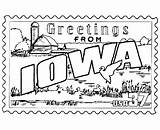 Iowa Coloring State Pages Flag Printables Usa States Stamp Cyclones Ia Printable Montana Sheets Template Postcard Tradition Culture Print Project sketch template