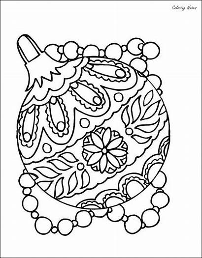 Coloring Christmas Ornaments Pages Detailed Tree Printable