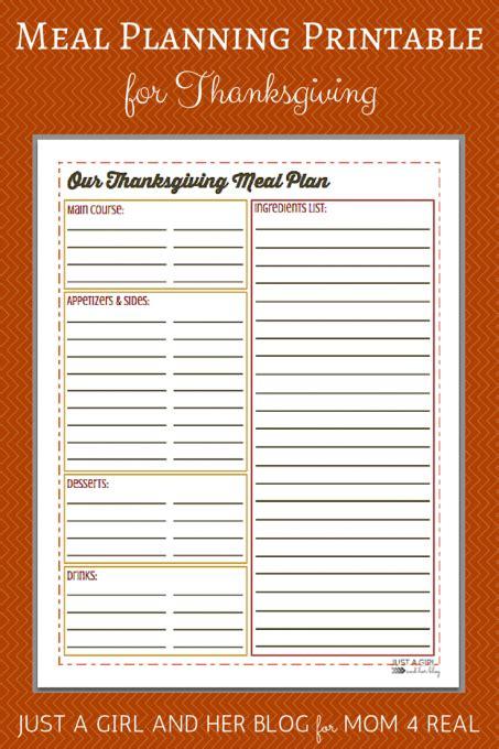 thanksgiving menu meal planning  printable mom  real