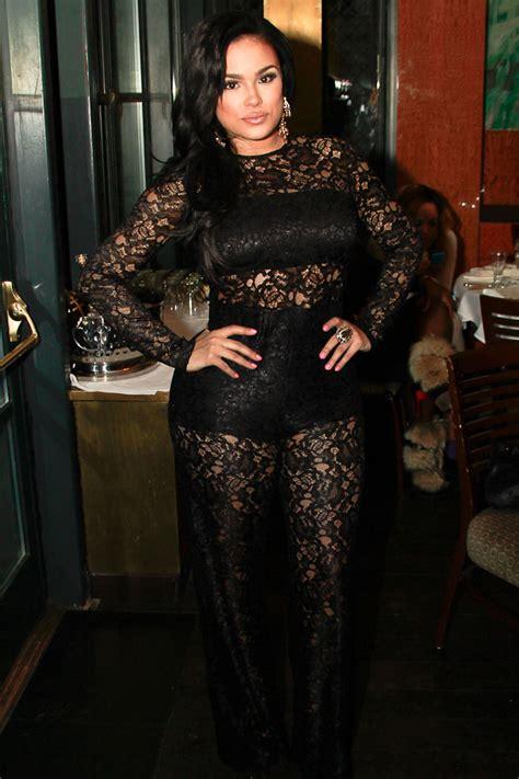 emily  wears lace jumpsuit   black birthday affair