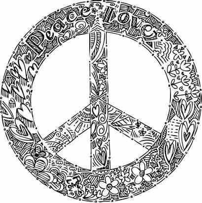 Peace Mandala Coloring Sign Pages Doodle Symbol