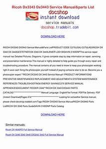 Ricoh Dx3343 Dx3443 Service Manualparts List By