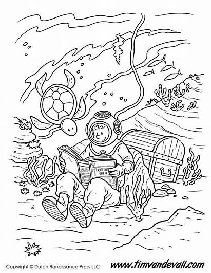 Coloring Underwater Reading Pages Printable Sea Printables