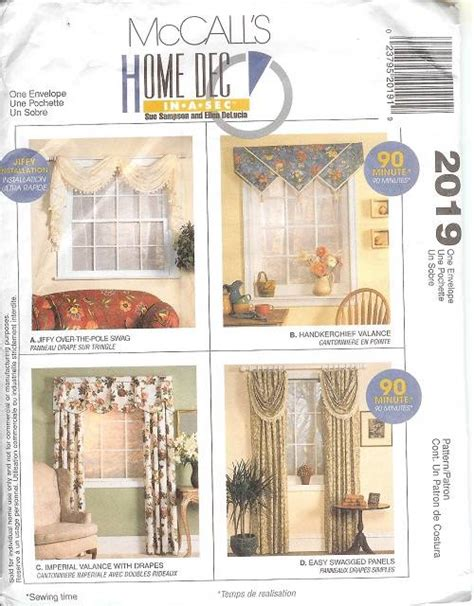 Sewing Patterns For Drapes - oop mccalls sewing pattern window treatment curtains