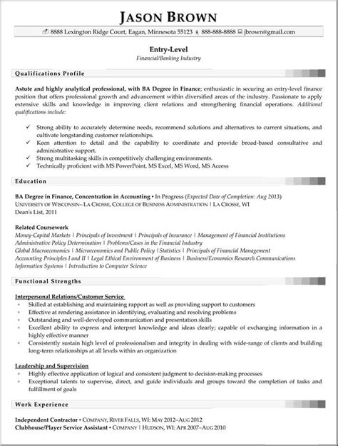 Entry Level Finance Resume Exles by Entry Level Financial Analyst Resume Berathen