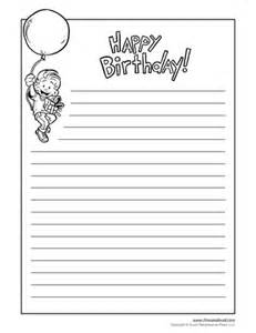Birthday Writing Paper Template