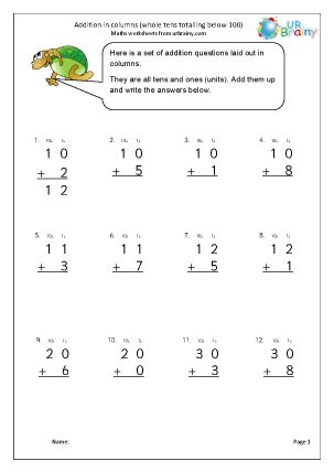 addition in columns 2 addition maths worksheets for year
