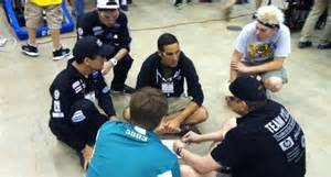 members of team 1717 meet with their new alliance partners