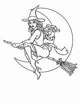 Halloween Coloring Pages Witch Para Printable Beuatiful Colorear Bruja Dibujos Broom Flying Adult Stick Witches Moon Outlines Zum Holiday Ausmalen sketch template