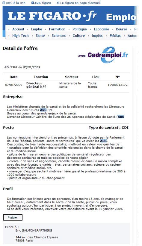 offre d emploi cadre superieur de sante directeur d ars une offre d emploi r 233 volutionnaire pour le secteur fondation ifrap