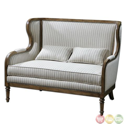 High Back Loveseat by Neylan Striped Linen Solid Wood Frame High Back Loveseat 23160
