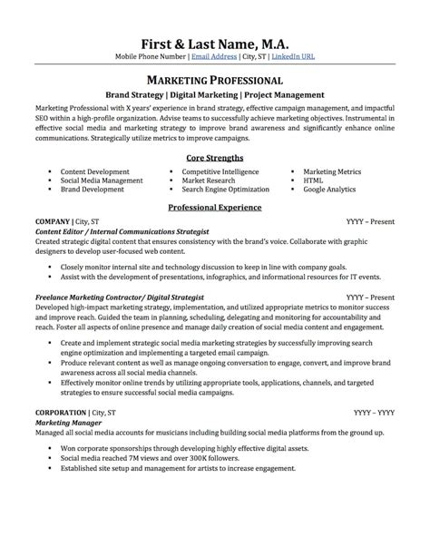 Advertising & Marketing Resume Sample Professional