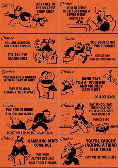 monopoly chance cards design context chance cards