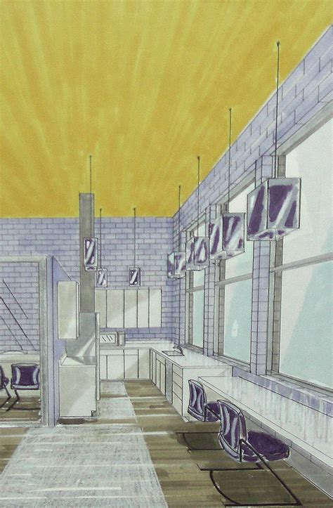 marker colored pencil rendering    point perspective
