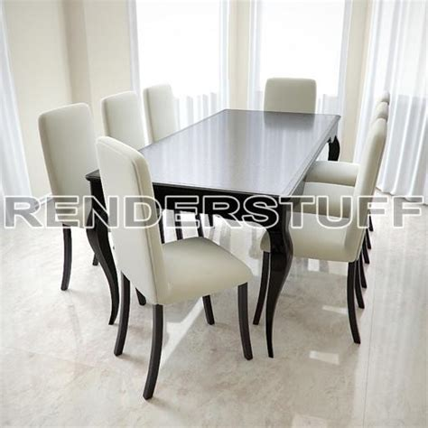 Table 3d Model Dining Round Kit With Chairs