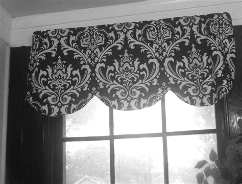 And White Valance by Lined Scallop Valance Black White Damask Scallop 42 X 16