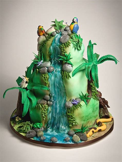 rainforest cake cakes jungle birthday waterfall rio happy awesome food sugar couture chef cooking tips party hana recipes celebrity cupcakes