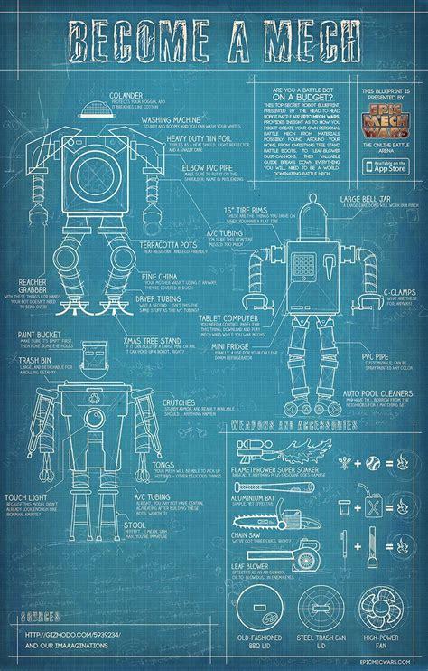 build   mech battle bots schematic design retro